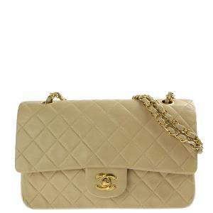 Chanel Beige Quilted Leather Classic Flap Bag
