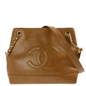 Chanel Brown Leather Vintage CC Bag