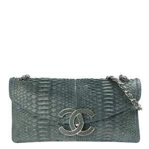Chanel Green Python Leather Sensual CC Clutch Bag