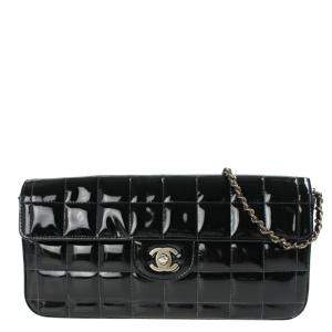 Chanel Black Patent Leather Square Quilt E/W Flap Bag