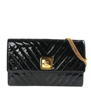 Chanel Black Patent Leather Vintage Chevron Shoulder Bag