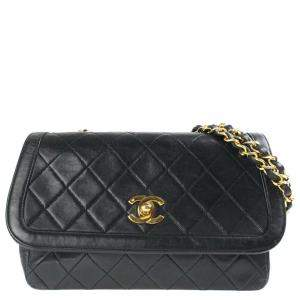 Chanel Black Quilted Lambskin Leather Vintage Flap Bag