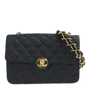 Chanel Black Satin Vintage Flap Bag