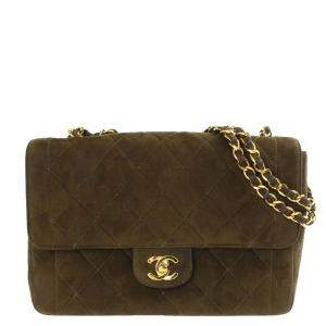 Chanel Brown Suede Vintage Flap Bag