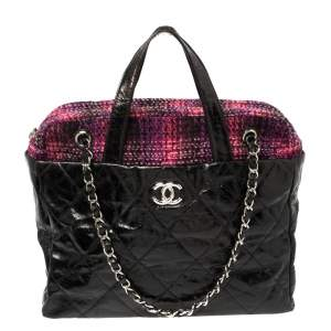 Chanel Black Glazed Distressed Leather And Tweed Soho Portobello Tote Bag