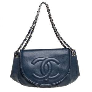 Chanel Blue Quilted Caviar Leather Half Moon Shoulder Bag