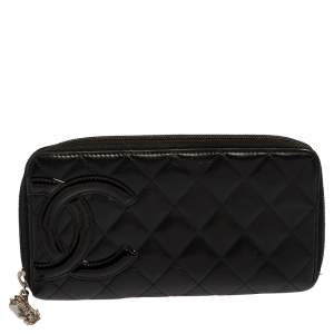 Chanel Black Quilted Leather Ligne Cambon Zip Around Wallet
