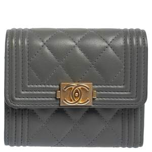 Chanel Grey Quilted Leather Boy Card Holder