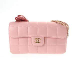 Chanel Pink Leather Chocolate Bar Camellia Flap Bag