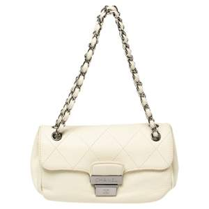 Chanel Ivory Quilted Leather CC Pushlock Flap Bag