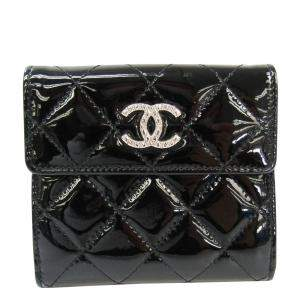 Chanel Black Patent Leather CC Wallet