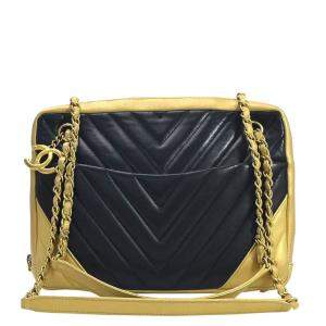 Chanel Black Leather Chevron V Shoulder Bag