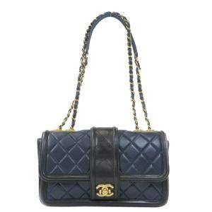 Chanel Black Lambskin Leather Vintage Shoulder Bag