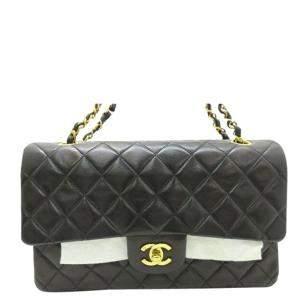 Chanel Black Lambskin Leather Quilted Shoulder Bag