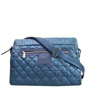 Chanel Blue Nylon Coco Cocoon Shoulder Bag