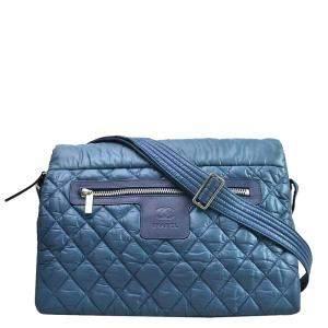 Chanel Blue Nylon Coco Cocoon Shoulder Bag