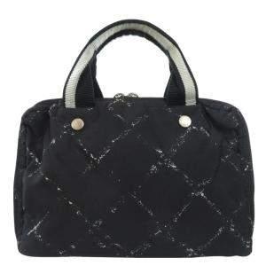 Chanel Black/White Canvas Top Handle Bag