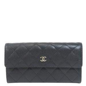 Chanel Black Caviar Leather Long Wallet