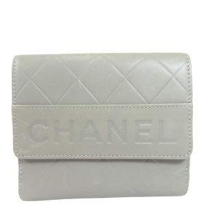 Chanel White Calfskin Leather Wallet