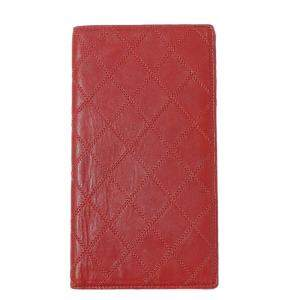 Chanel Red Lambskin Leather Wallet