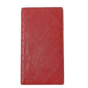 Chanel Red Lambskin Leather Wallet