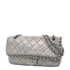 Chanel Silver Leather Quilted Shoulder Bag