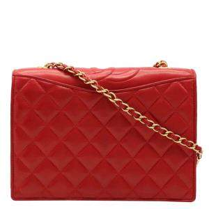 Chanel Red Lambskin Leather Quilted Chain Shoulder Bag