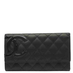 Chanel Black Calfskin Leather Cambon Wallet