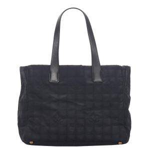Chanel Black Nylon Travel Line Tote Bag
