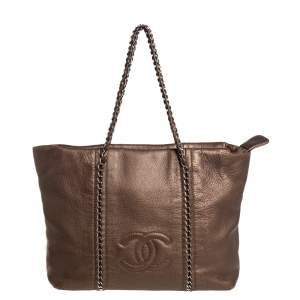 Chanel Metallic Brown Leather Medium Modern Chain Tote