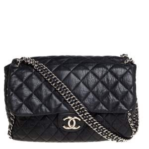 Chanel Black Quilted Leather Jumbo Chain Around Flap Bag