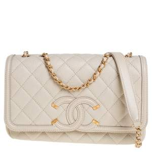 Chanel Ivory Quilted Caviar Leather Small CC Filigree Flap Bag