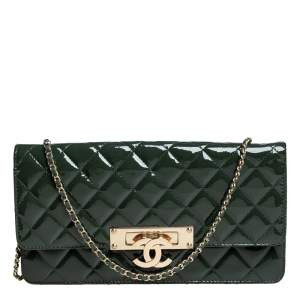Chanel Green Quilted Patent Leather Medium Golden Class East/West Flap Bag