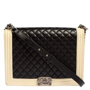 حقيبة شاميل بوي جلد أسود/بيج مبطن كبيرة بقلاب