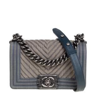 Chanel Blue Chevron Denim Small Boy Flap Bag