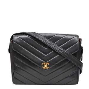 Chanel Black Leather Vintage Chevron Flap Bag