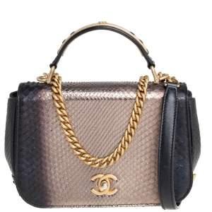 Chanel Metallic Black/Gold Python CC Top Handle Bag