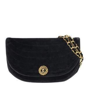 Chanel Black Velvet Vintage Flap Bag