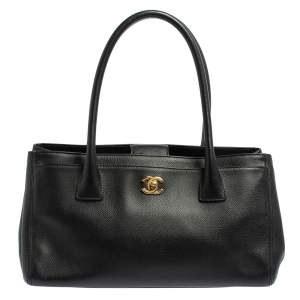 Chanel Black Leather Small Cerf Executive Tote