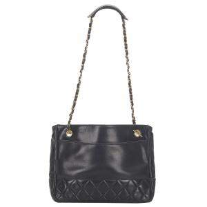 Chanel Black Matelasse Lambskin Leather Shoulder Bag