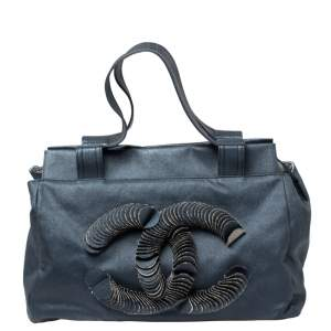 Chanel Blue Denim Disc Tote