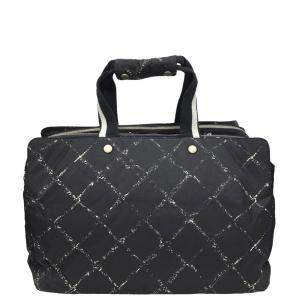 Chanel Black/White Nylon Old Travel Line Travel Bag