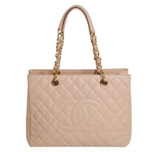 Chanel Cream Quilted Caviar Leather Grand Shopper Tote
