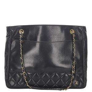 Chanel Black Lambskin Leather CC Timeless Tote Bag