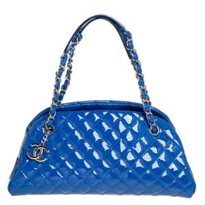 Chanel Blue Quilted Patent Medium Just Mademoiselle Bowling Bag