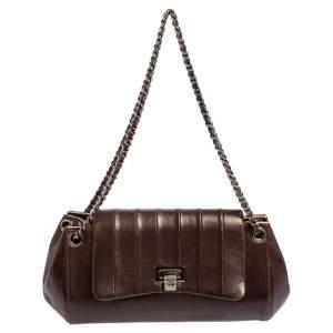 Chanel Dark Brown Leather Accordion Flap Bag