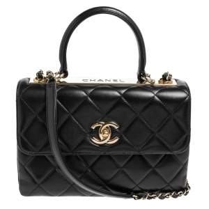 Chanel Black Quilted Leather Small Trendy CC Flap Top Handle Bag