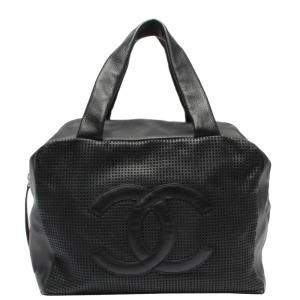 Chanel Black Leather Boston Bag