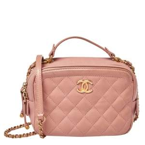 Chanel Blush Pink Quilted Leather Small Vanity Case Bag