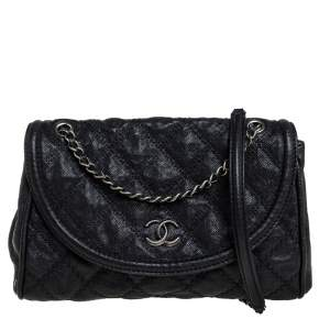 Chanel Black Quilted Caviar Leather Ultimate Stitch Chain Around Flap Bag
